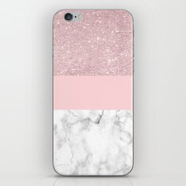 Rose gold glitter, blush pink & white marble iPhone Skin