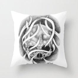Swirly Skull Throw Pillow