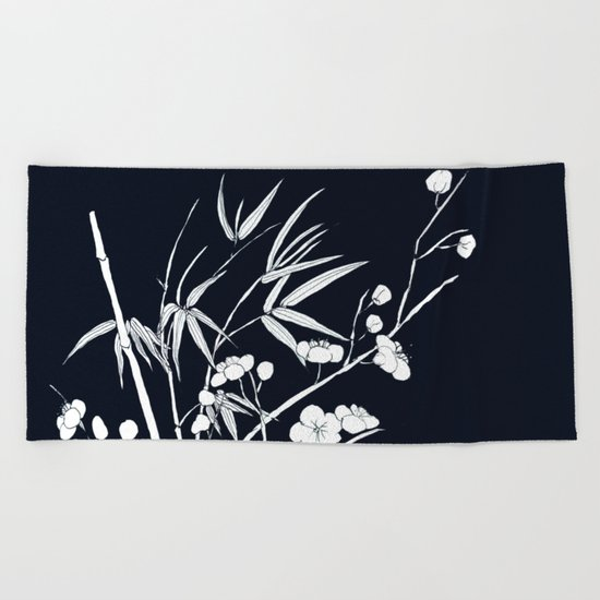 bamboo and plum flower white on black Beach Towel