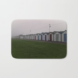 Preston Beach Huts On A Foggy Morning Bath Mat