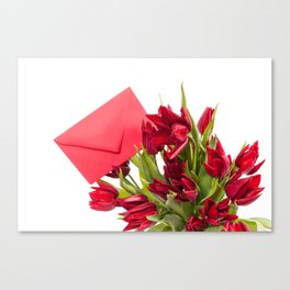 Tulips bouquet with red envelope Canvas Print