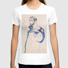 """Egon Schiele """"Gustav Klimt im blauen Malerkittel"""" T-shirt"""
