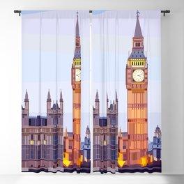 Geometric Big Ben, London, UK Blackout Curtain