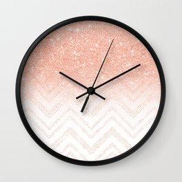 Faux salmon gold glitter ombre modern chevron pattern Wall Clock