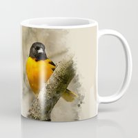 baltimore Mugs featuring Baltimore Oriole Watercolor Painting by Christina Rollo