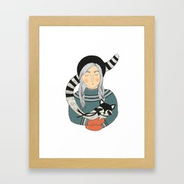 Girl and Raccoon. Framed Art Print