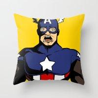 bucky Throw Pillows featuring bucky!cap by zombietonbo