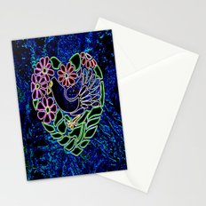 Gothic Bird in Heart Stationery Cards