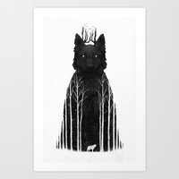 illustration Art Prints featuring The Wolf King by Dan Burgess