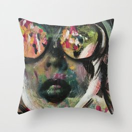 wild one mixed media, collage, vintage photography, bold, bright, beautiful Throw Pillow