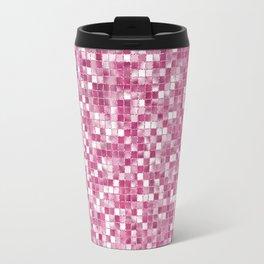 Checked Pink Travel Mug