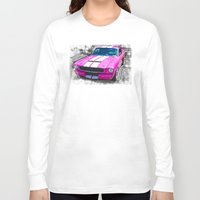 mustang Long Sleeve T-shirts featuring Pink Mustang  by Paul Stephenson