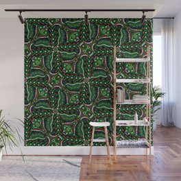Bohemian Folkart Floral - Christmas Foliage Floral, Traditional Green & Red Pattern with Folklore Fe Wall Mural