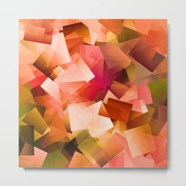 Fluorescent Geometric Stacks Autumn Metal Print