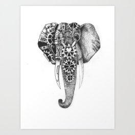 Livingstone the Steampunk Elephant Art Print
