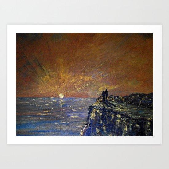 Golden Sunset Gazing Art Print