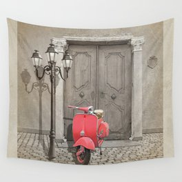 Nostalgia pink scooter Wall Tapestry