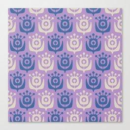 Mid Century Modern Retro Flower Pattern Lavender and Blue 931 Canvas Print
