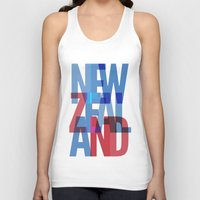 new zealand Tank Tops featuring New Zealand by Feb Studios