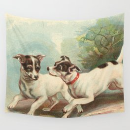 Classic, preppy, vintage jack russell fox terrier dog puppy antique illustration art print Wall Tapestry