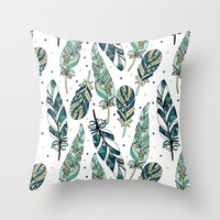 feathers Throw Pillows featuring Feathers by Julia Badeeva