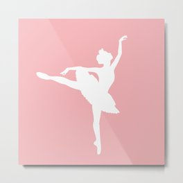 Pink and white Ballerina Metal Print