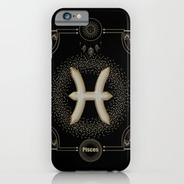 Golden pisces zodiac sign iPhone Case