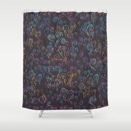 Pixelated Spirals Shower Curtain