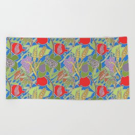 Seven Species Botanical Fruit and Grain with Blue Background Beach Towel