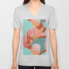 Large Scale Ginger Flowers in Rust Unisex V-Neck