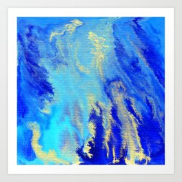 Gold & blue abstract 1710009 Art Print