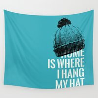 android Wall Tapestries featuring Home is Where I Hang My Hat by NOT MY TYPE
