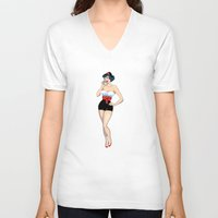 pinup V-neck T-shirts featuring PinUp by AnishaCreations