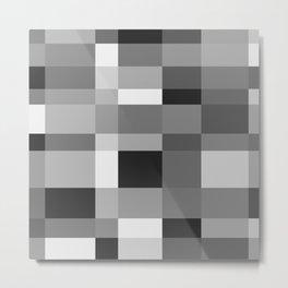 Grayscale Check Metal Print
