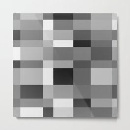 Grayscale Check Metal Print