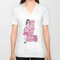 macaron V-neck T-shirts featuring Macaron Girl by Martina
