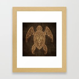 Intricate Vintage and Cracked Sea Turtle Framed Art Print