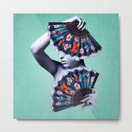 Fan Girl - Blue - Orange Metal Print