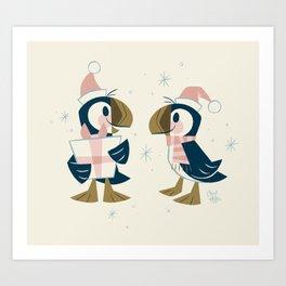 Puffins & Presents Art Print