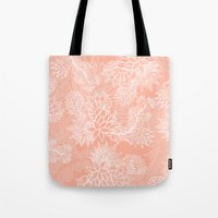 aelwen Tote Bags featuring Chic hand drawn floral pattern on pink blush by Girly Trend