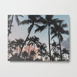 Sunset Silhouette Palm Trees Tropical Landscape Metal Print