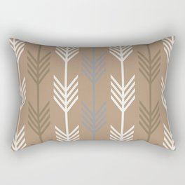 Ethnic Arrow Fletching Pattern - Neutral Brown and Grey Rectangular Pillow