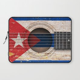 Old Vintage Acoustic Guitar with Cuban Flag Laptop Sleeve