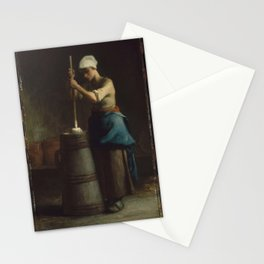 Jean-François Millet - Young Woman Churning Butter Stationery Cards