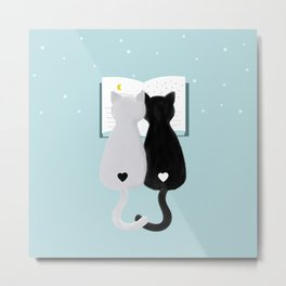 black and white cats Metal Print