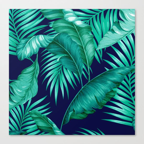 HAWAIIAN GARDEN TROPICAL LEAVES | turquoise navy Canvas Print