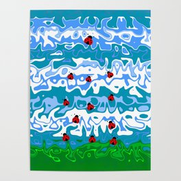 Nature Summer Ladybug Abstract Poster