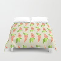 vegetable Duvet Covers featuring VEGETABLE-CARROTS! by Claudia Ramos Designs