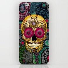 Sugar Skull Paisley Garden - Colorful Floral Sugar Skull Art iPhone & iPod Skin