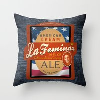 ale giorgini Throw Pillows featuring American Cream Ale by La Femina Brewing Co.